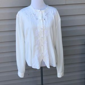 Yves St. Clair women's ivory long sleeve blouse